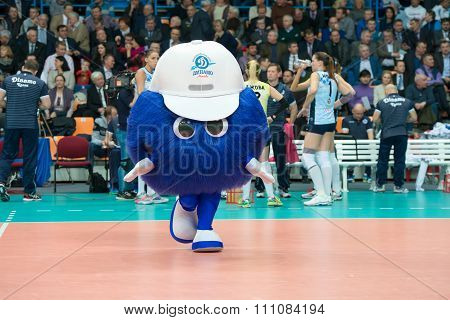 MOSCOW RUSSIA - DECEMBER 2, 2015: The symbol of the club Dynamo (MSC) 3 while playing on women's Rissian volleyball Championship game Dynamo (MSC) vs Dynamo (KZN) at the Luzhniki stadium in Moscow Russia. Kazan won in serie 3: 2