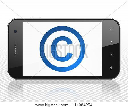 Law concept: Smartphone with Copyright on display