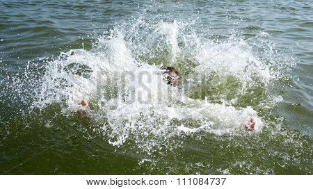 Drowning Man Trying To Swim Out Of The Ocean Filtered