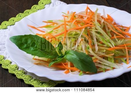 Fresh Salad With Green Radish And Carrot