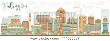 Abstract Wellington skyline with color buildings. Business travel and tourism concept with modern buildings. Image for presentation, banner, placard and web site.