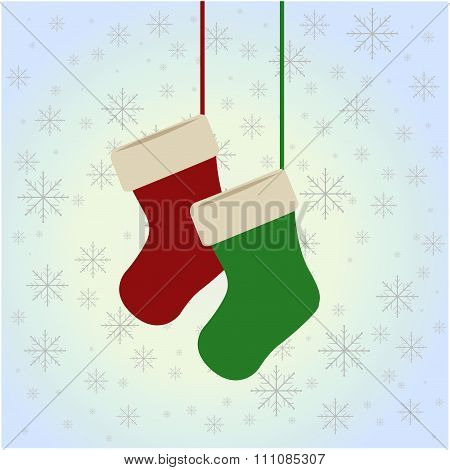 Christmas Stockings Hanging On The Blue Background
