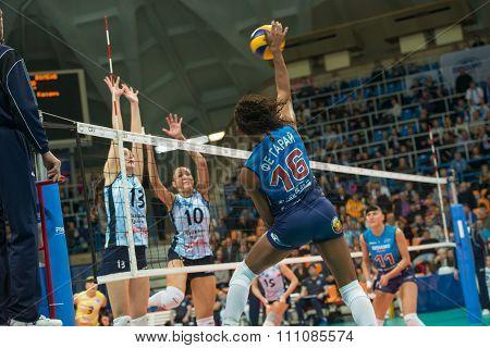 MOSCOW RUSSIA - DECEMBER 2, 2015: Fernanda Garay Rodriguez (Dynamo (MSC) 16 while playing on women's Rissian volleyball Championship game Dynamo (MSC) vs Dynamo (KZN) at the Luzhniki stadium in Moscow Russia. Kazan won in serie 3: 2