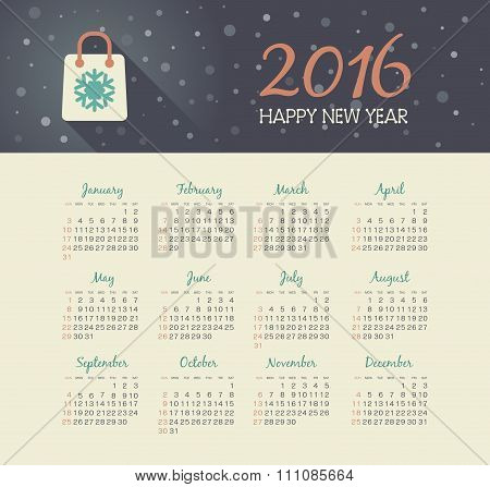 Calendar 2016 Year With Christmas Bag