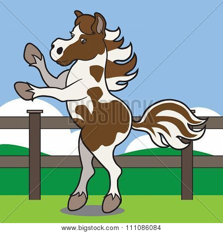 Rearing Cartoon Horse