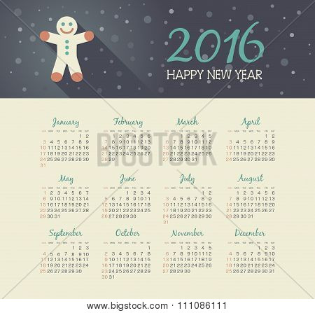 Calendar 2016 Year With Christmas Gingerbread Man