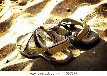 Marching Sandals On Beach Sand High Contrasted With Vignetting Effect
