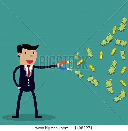 Businessman with magnet