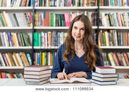 Girl Reding Book In The Library, Studying