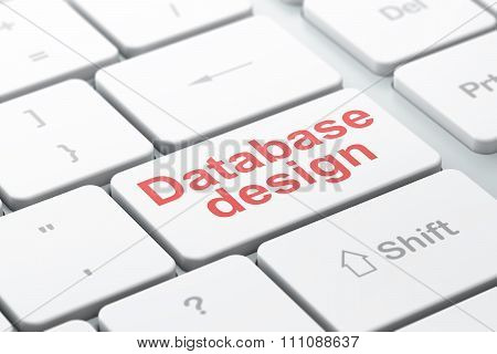 Database concept: Database Design on computer keyboard background