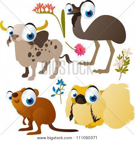 Zebu, Emu, Quokka, Pekingese dog.