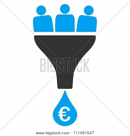 Euro Sales Funnel Icon
