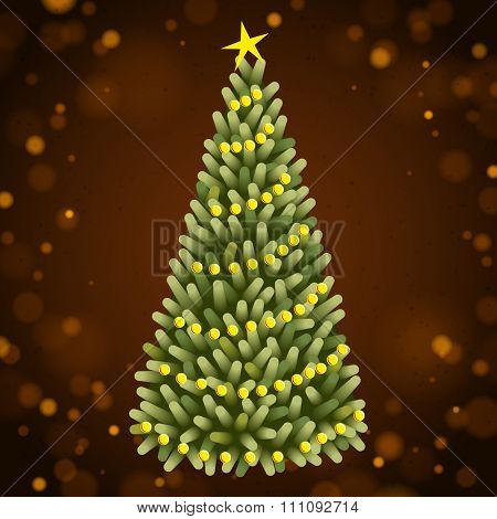 Christmas tree with yellow Christmas balls on the brown background