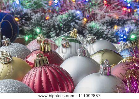 Christmas Colour Toys And Tinsel