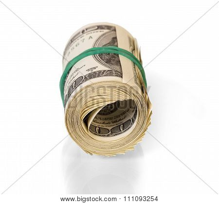 Dollars rolled isolated on white background