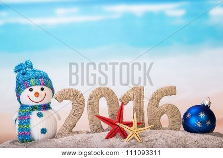 New year sign with starfishes