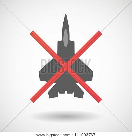 Not Allowed Icon With A Combat Plane
