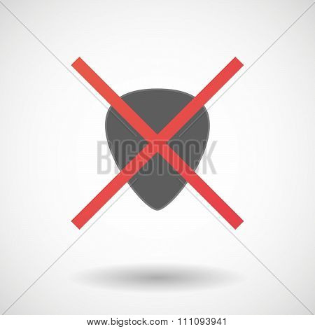 Not Allowed Icon With A Plectrum