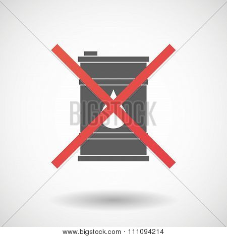 Not Allowed Icon With A Barrel Of Oil