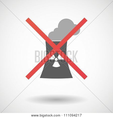 Not Allowed Icon With A Nuclear Power Station