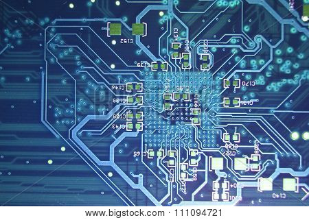 Printed circuit board blue electronic background