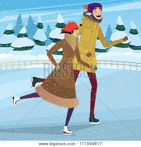 Couple On Private Ice Rink