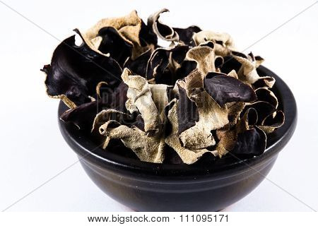 Dried Chinese Black Mushrooms, Auricularia Polytricha, Also Called Cloud Ear Mushroom.