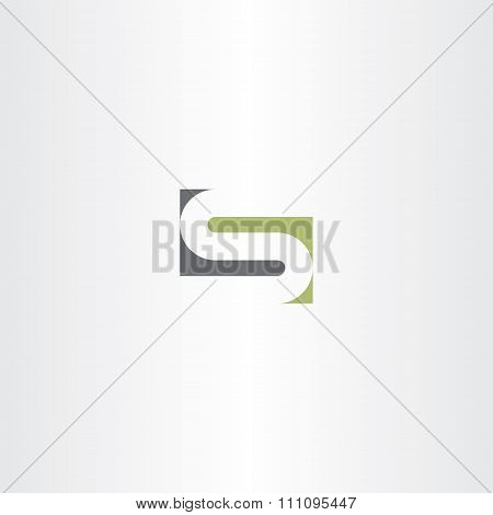 Green Gray Letter S Stylized Design