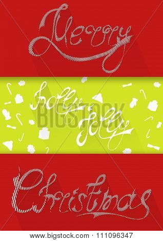 Christmascard typography, handwriting, colorful, flat