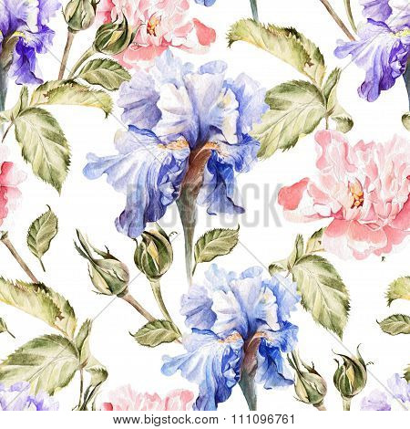 Watercolor pattern with flowers iris, peonies, roses, buds and petals.