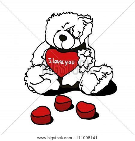 Toy bear and hearts (souvenir)