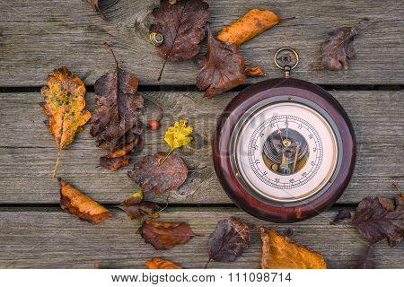 Barometer On Wooden Planks