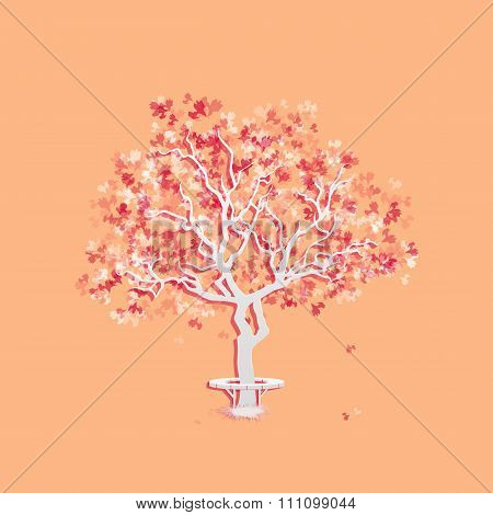 Autumn landscape with abstract tree