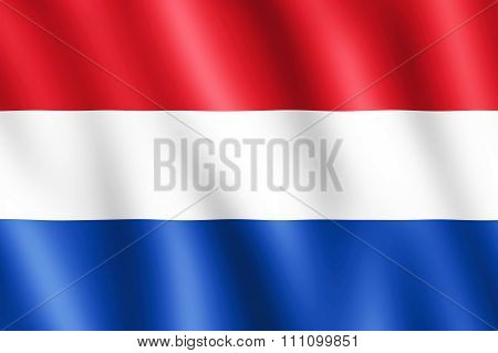 Flag Of Netherlands Waving In The Wind