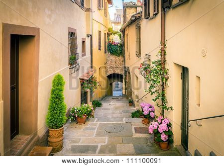 Beautiful Street Of Montepulciano, Tuscany