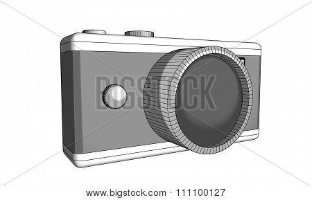 Black and white Illustration of a simple photographic camera