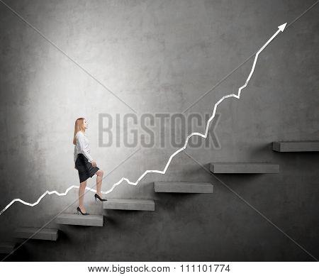Woman Climbing A Career Ladder