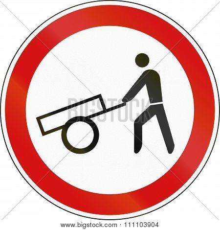 Slovenian Regulatory Road Sign - No Handcarts