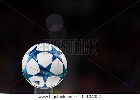 The Ball Of The Champions League On A Pedestal Close-up During The Uefa Champions League Game Betwee