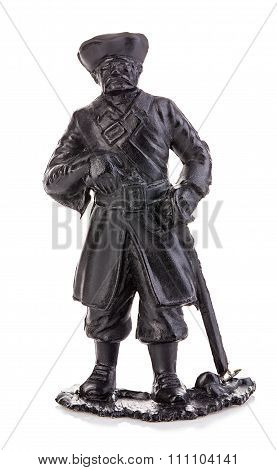 Old Pirate Captain In Authentic Looking Costume Close-up Isolated On A White Background. Miniature F