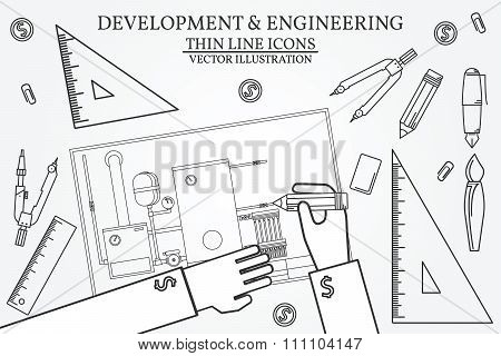 Development & Engineering. Project, Blueprints, Ruler And Divider Compass, Calipers On Plans Enginee