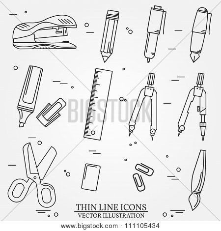 Drawing And Writing Tools Icon Thin Line For Web And Mobile, Modern Minimalistic Flat Design.
