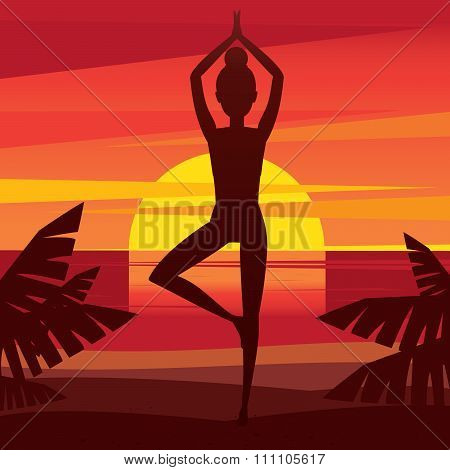 Girl Meditating On The Coast At Sunset