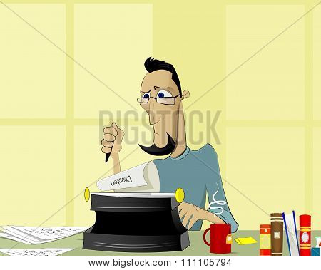 Writer At Work Illustration