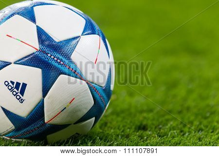 Champions League Football Balls In The Field Before The Match Of The Champions League  Bayer 04 Leve