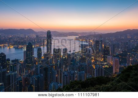 Sunrise over Victoria Harbor as viewed atop Victoria Peak