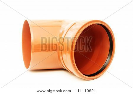 Drain pipe red corner isolated on white