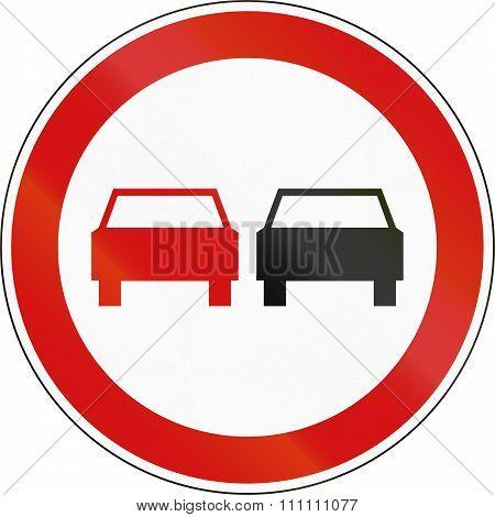Slovenian Regulatory Road Sign - No Overtaking