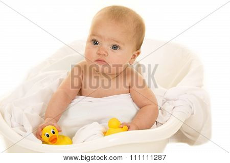 Baby With Rubber Duck Serious Expression