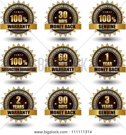 Golden Warranty banner symbol label